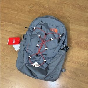 NWT The North Face Borealis Backpack, Gray/ Red